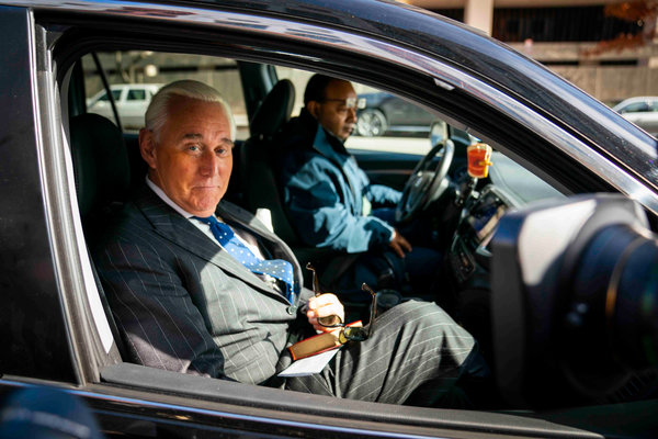 Roger Stone in November, after he was found guilty of obstructing a congressional investigation into Russian interference in the 2016 election.