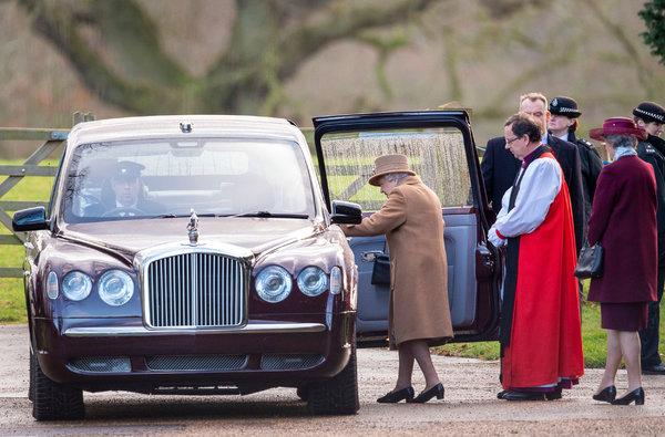 Queen Elizabeth II leaving a morning church service in Sandringham on Sunday.