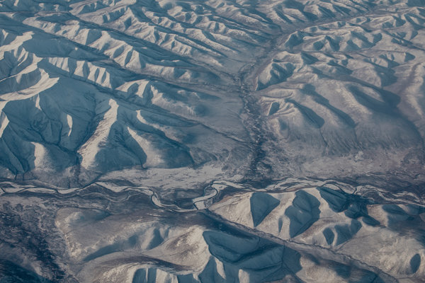 An aerial view of the Kolyma region's mountainous landscape.