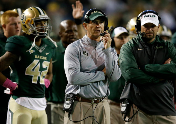 Art Briles, center, helped turn Baylor into a national power, but a series of sexual assault indictments led to his dismissal, and to Mr. Starr's.