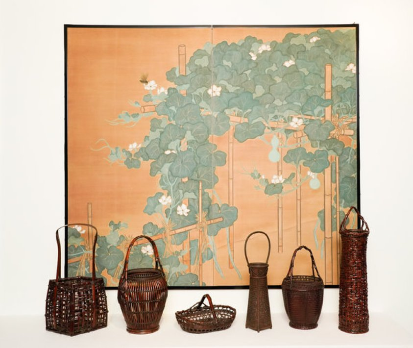 6 prewar bamboo baskets by various masters and gold and green screen with flowering gourds and insect.