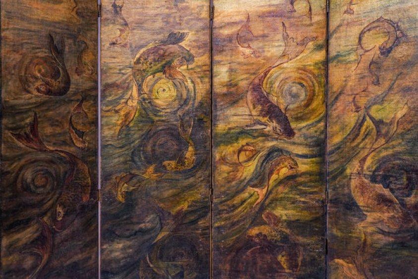 Detail of hinged screen with carp motif
