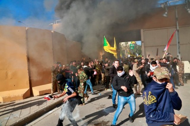 The drone strike occurred after protesters broke into the United States Embassy compound in Baghdad on Tuesday.