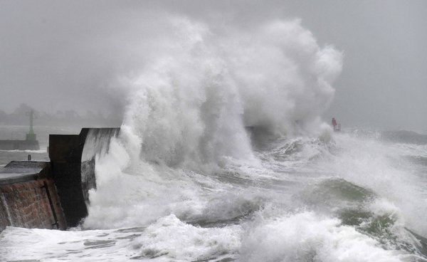 Large waves in Plobannalec-Lesconil, France, as Storm Ciara was hitting western and northern Europe.