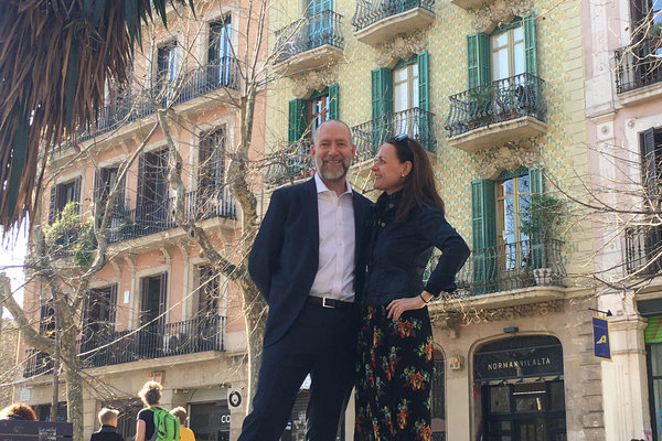 "Charles Burgess and Kerstin Michaelsen in Barcelona. The couple had grown eager ""to put down roots and focus on how to spend the second half of our adult lives."" Spain's lower cost of living has helped them make the transition, as has the technology that enables them to conduct borderless business."