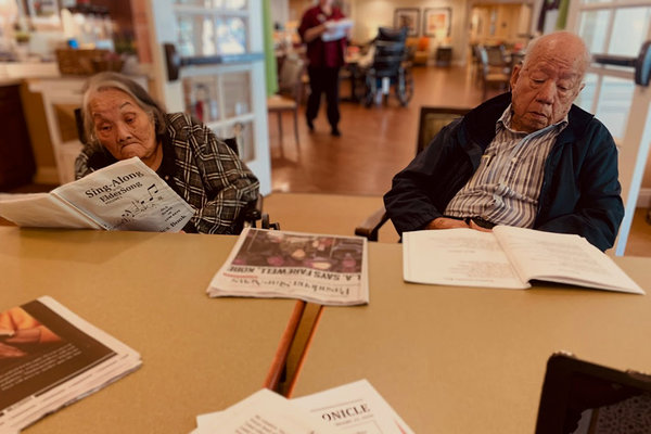 Dolly and Wayne Wong, who have been married more than 70 years, live in a nursing facility in Sierra Madre, Calif. The facility recently asked family members of residents not to visit.