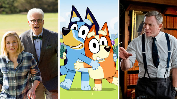 """From left, """"The Good Place,"""" """"Bluey"""" and """"Knives Out"""" are among our recommendations for what to watch."""