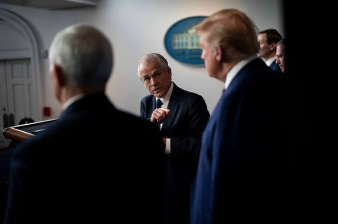 Peter Navarro with President Donald J. Trump and Vice President Mike Pence at a coronavirus briefing last week.
