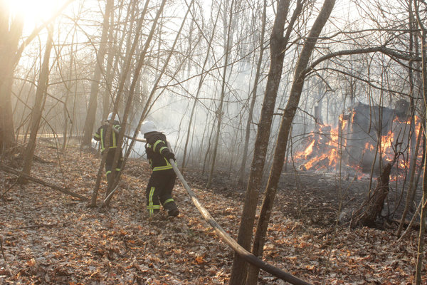 Firefighters trying to extinguish a fire.