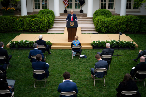President Trump speaking at the Rose Garden of the White House during a coronavirus news conference on Tuesday.