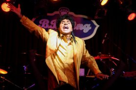 "Little Richard in performance at B.B. King Blues Club & Grill in New York in 2007. ""He was crucial,"" one historian said, ""in upping the voltage from high-powered R&B into the similar, yet different, guise of rock 'n' roll."""