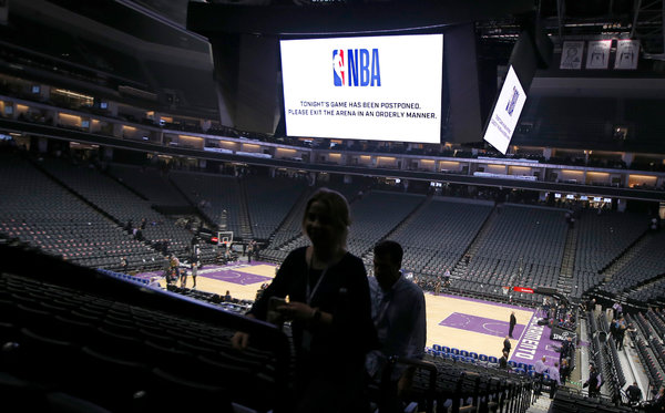 The Golden 1 Center in Sacramento, Calif., after the game between the Sacramento Kings and the New Orleans Pelicans was called off on March 11, when the N.B.A. became the first major American sports league to suspend operations.