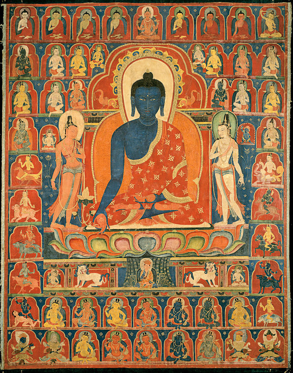 A 14th-century Tibetan painting on cloth of Bhaisajyaguru, or the Medicine Buddha, who is typically depicted with blue skin and holding an apothecary's gallipot.