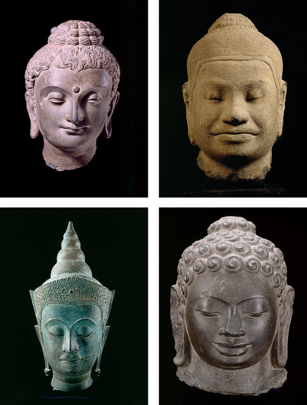 Various stone and bronze Buddha heads, clockwise from top left: from Gandhara, in the Peshawar basin in modern-day Pakistan and Afghanistan, produced during the Kushan dynasty, between the third and fifth centuries A.D.; from Angkor, Cambodia, made during the Khmer Empire in the 12th century; from Cambodia or Vietnam, created around the fifth or sixth century; from Thailand's Ayutthaya kingdom, fabricated between the 15th and 16th centuries.
