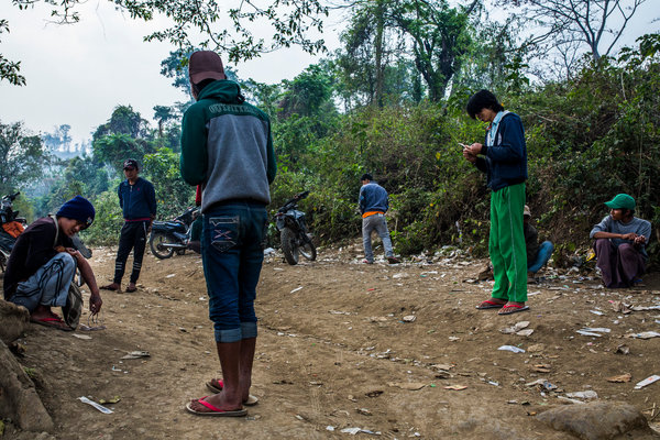 Drug users in Lashio, in northern Shan State, last year.