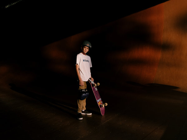 Gui Khury, an 11-year-old skateboarder, pulled off a 1080 on a halfpipe, spinning three times in the air before landing.