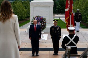 President Trump and the first lady, Melania Trump, at Arlington National Cemetery on Monday.