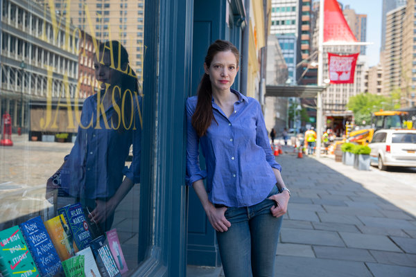 Sarah McNally outside one of her stores in Manhattan.