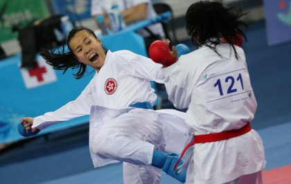 Tsang Yee-ting, left, a karateka from Hong Kong, worried about regaining her form. She says she has.