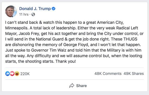 President Trump's post on Facebook.
