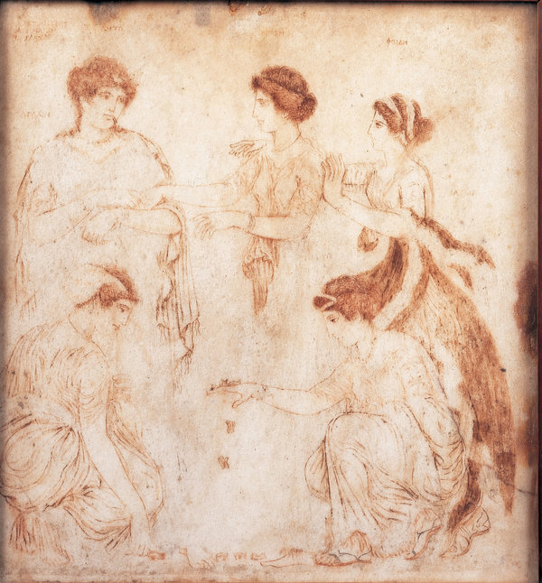 La figure mythologique grecque Niobe, au centre, représentée avec ses filles Aglaia et Ilaria.  Ils sont à genoux pour jouer à un jeu qui semble être des os d'articulation.  Vers le premier siècle de notre ère