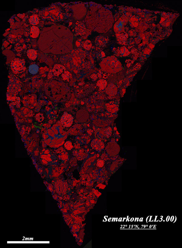 A section of chondrite meteorite found in India, known as the Semarkona meteorite. The round parts are chondrules.