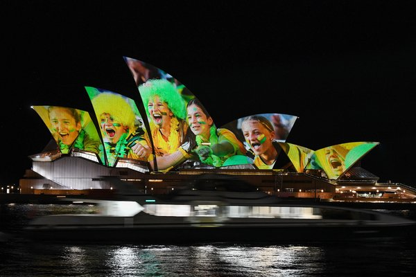 Sydney's iconic opera house was lit with Australia's color and images of players and fans ahead of Thursday's announcement.