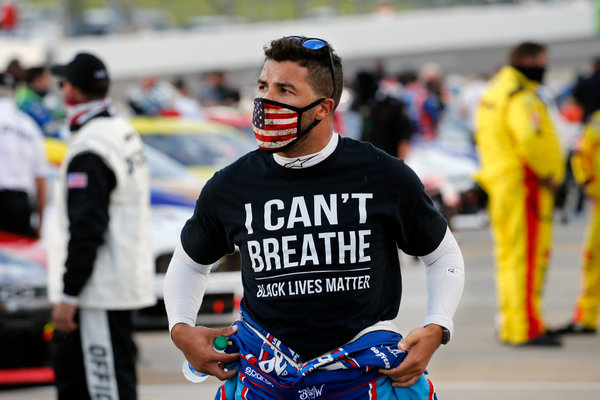 Wallace wore a Black Lives Matter shirt before a race at Martinsville Speedway in Virginia.