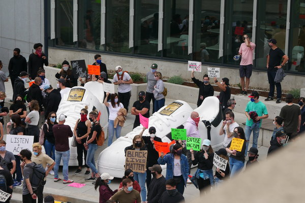 Adidas staff protested in June at the company's North American headquarters in Portland, Ore.