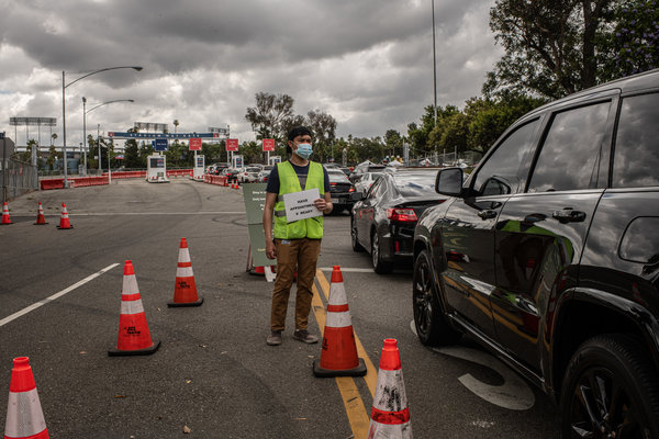 Dodger Stadium's parking lot is currently serving as a coronavirus testing site.