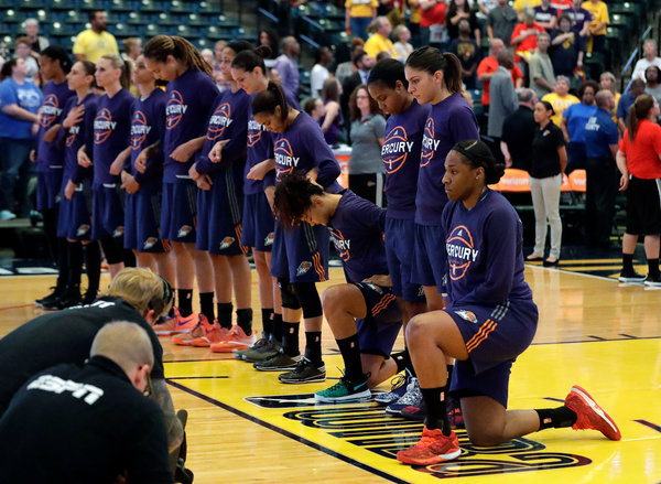Two Phoenix Mercury players kneeled during the national anthem in September 2016, part of an early wave of demonstrations against police brutality among W.N.B.A. players.