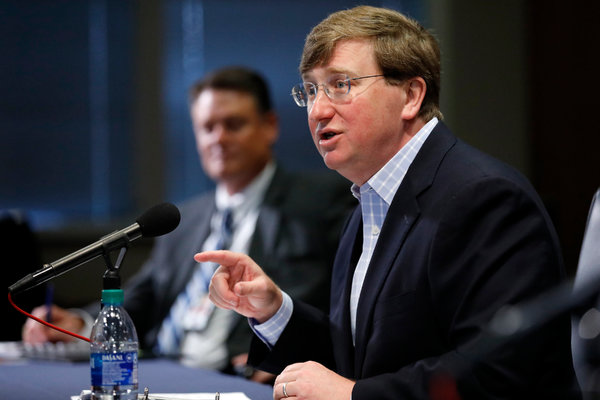 Gov. Tate Reeves at a news briefing on the coronavirus on Wednesday.