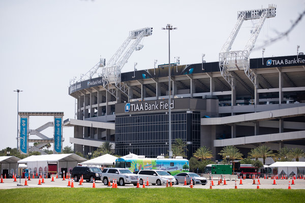A testing site outside the TIAA Bank Field in Jacksonville, Fla., on Sunday. Florida has recorded more than 269,800 cases, with more than 4,200 total deaths, according to a New York Times database.