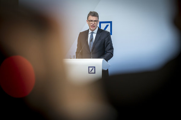 Christian Sewing, Deutsche Bank's chief executive, speaking to reporters in Frankfurt, Germany, earlier this year.