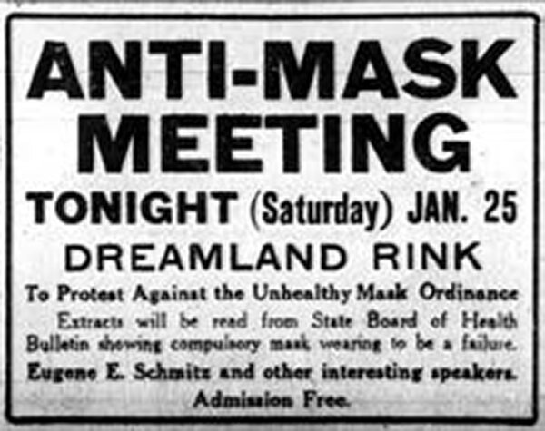 A call to protest by the Anti-Mask League in The San Francisco Chronicle, on Jan. 25, 1919.