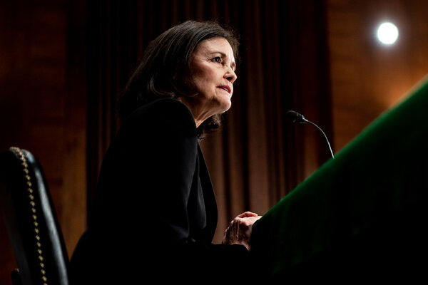 Judy Shelton, one of two nominees for the Federal Reserve Board of Governors, at her Senate Banking Committee confirmation hearing in February. A vote is set for Tuesday.