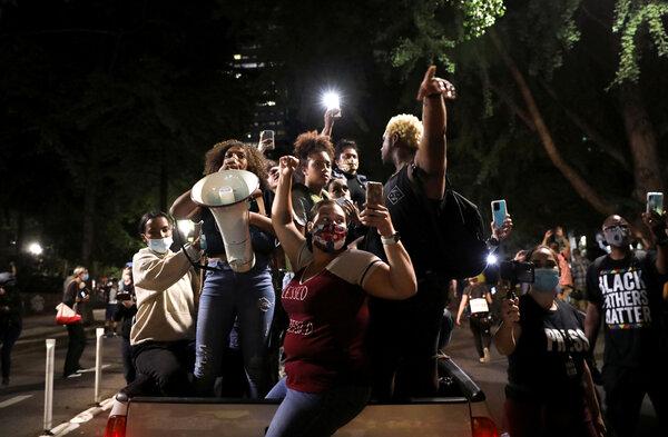 Demonstrators in Portland, Ore., on Monday night.