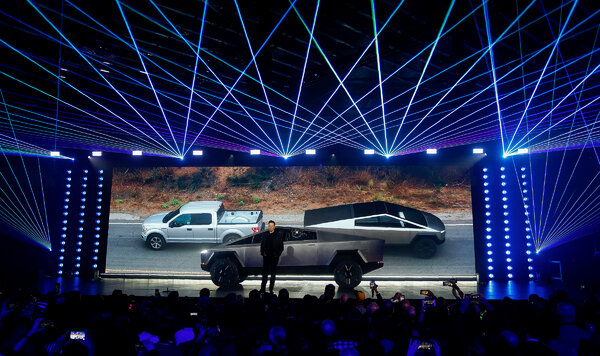 """Elon Musk said Tesla would build its pickup truck, the """"Cybertruck,"""" and a semi truck, along with Model 3 and Model Y, at the company's new plant in Texas."""