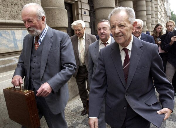 Mr. Jakes, right, with Jozef Lenart, a former prime minister of Czechoslovakia, outside a Prague court in 2002 after being acquitted of charges that they conspired with Soviet officials to end theattempt at liberalization known as the Prague Spring.