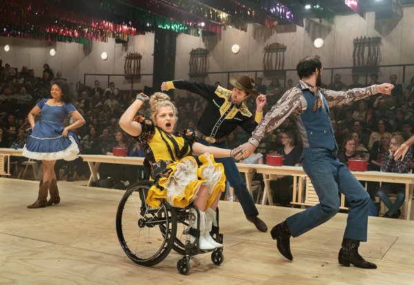 "Ali Stroker, center, as Ado Annie in the Broadway revival of ""Oklahoma!"""