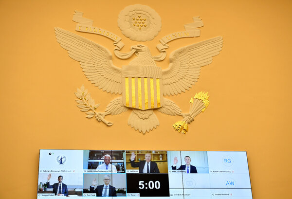 The chief executives of Amazon, Facebook, Google and Applewere forced to show humility as they testified via videoconference before Congress.