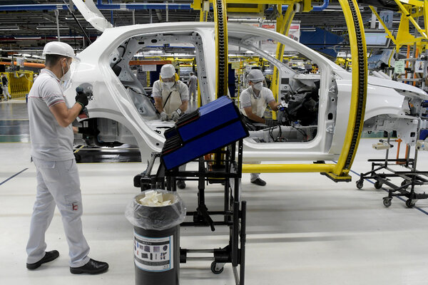 A Fiat Chrysler Automobiles assembly plant in Brazil, in May.
