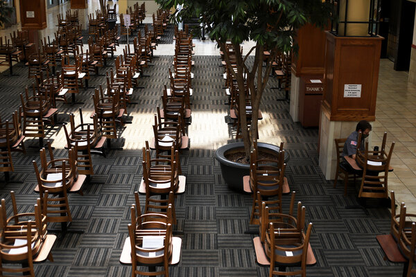 Inside Iowa City's Old Capitol Mall on Friday. A few businesses remain, but many have closed because of the pandemic.