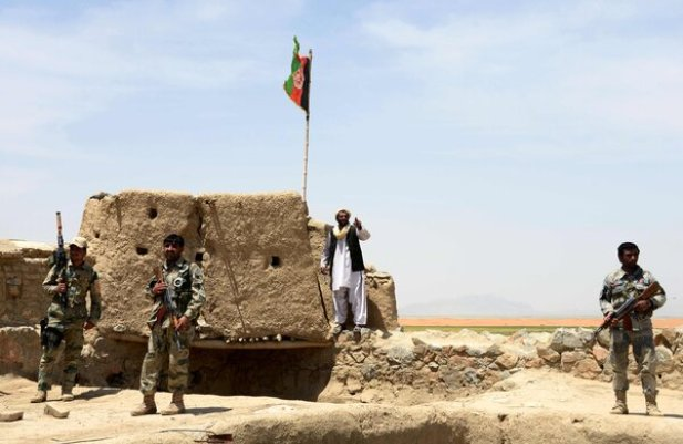 Afghan border police keeping watch in 2017 during a battle between Pakistani and Afghan forces near the Durand Line in Spin Boldak, in southern Kandahar Province. Recent clashes turned deadly.