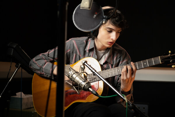 Finn Wolfhard in the recording studio earlier this year.