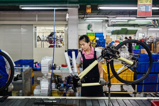 Workers at the Giant bicycle factory near Taichung, Taiwan.