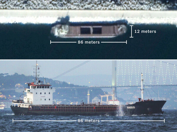 Top: The Rhosus in Beirut's port in 2017. Bottom: The same ship in 2010 off the coast of Istanbul.