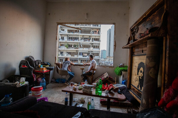 A destroyed apartment in the Gemmayzeh neighborhood of Beirut.