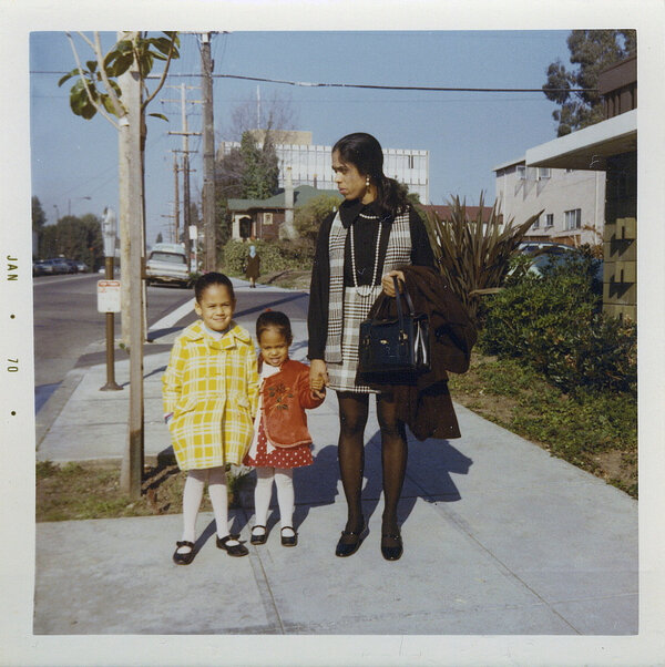 Kamala Harris, left, stands with her sister, Maya, and mother, Shyamala, outside their apartment in Berkeley, Calif., in 1970.