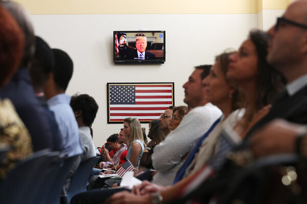 President Trump in a taped speech during a citizenship ceremony in Miami last year. He has made immigration a centerpiece of his bid for re-election.
